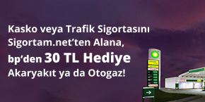 Kasko veya Trafik Sigortasına, 30 TL'lik Akaryakıt ya da Otogaz Hediye!